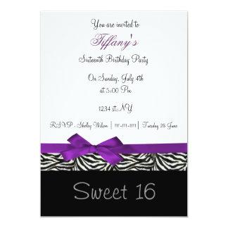 invitation chic pourpre de partie de sweet sixteen