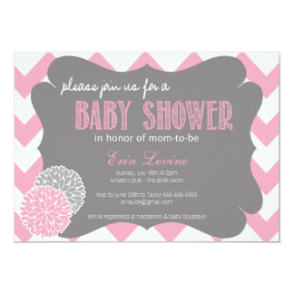 Invitation chic rose de baby shower de Chevron
