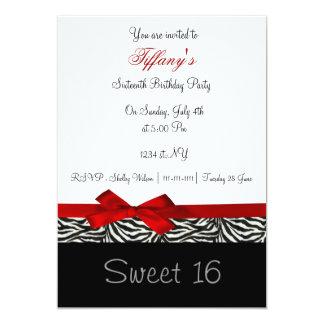 invitation chic rouge de partie de sweet sixteen