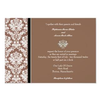 Invitation classique de mariage damassé de noix de carton d'invitation  12,7 cm x 17,78 cm