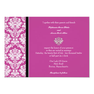 Invitation classique de mariage damassé de prune carton d'invitation  12,7 cm x 17,78 cm