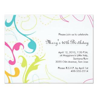 Invitation colorée de Flourishes - petit blanc