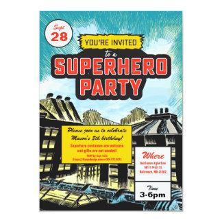 Invitation comique de partie de super héros
