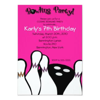 Invitation cosmique 5x7 d'anniversaire de bowling carton d'invitation  12,7 cm x 17,78 cm
