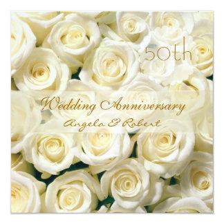 Invitation crème blanche d'anniversaire de mariage