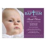 Invitation croisée élégante de baptême de photo