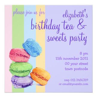 Invitation d anniversaire de 5 rayures de Macarons
