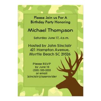 Invitation d anniversaire de camouflage de chasseu