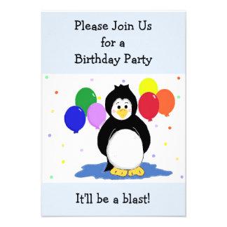 Invitation d anniversaire de pingouin et de ballon