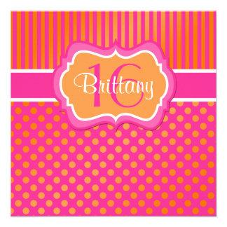 Invitation d anniversaire de pois rose et orange s