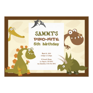 Invitation d anniversaire de terre de dinosaure
