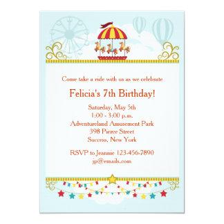 Invitation d'amusement de carrousel carton d'invitation  12,7 cm x 17,78 cm