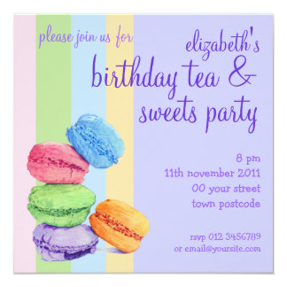 Invitation d'anniversaire de 5 rayures de Macarons