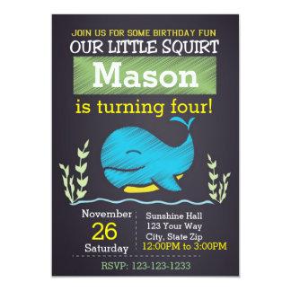 Invitation d'anniversaire de baleine (garçon)