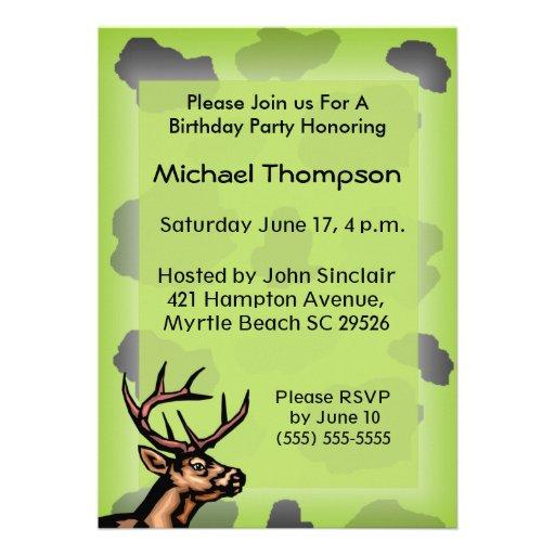 Invitation d'anniversaire de camouflage de chasseu