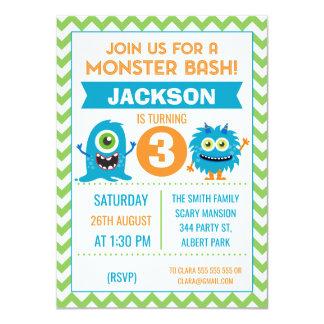 Invitation d'anniversaire de Chevron de monstres