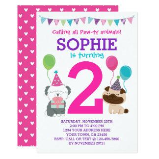 Invitation d'anniversaire de chiot pour des filles