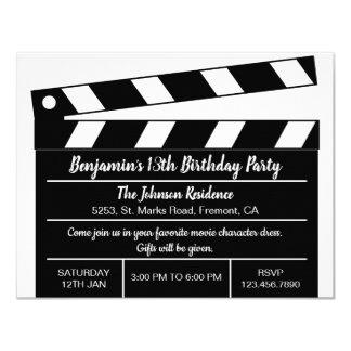 Invitation d'anniversaire de clapet de film de