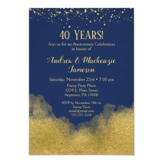 Invitation d'anniversaire de confettis d'or de