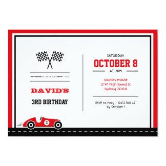 Invitation d'anniversaire de course de voiture