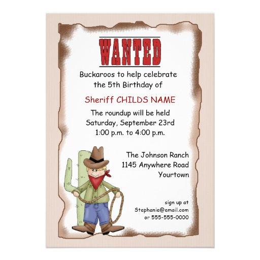 Invitation d'anniversaire de cowboy