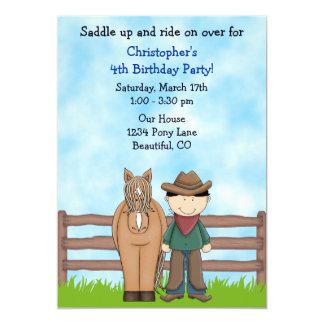 Invitation d'anniversaire de cowboy et de cheval