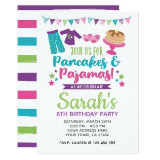 Invitation d'anniversaire de crêpes et de pyjamas