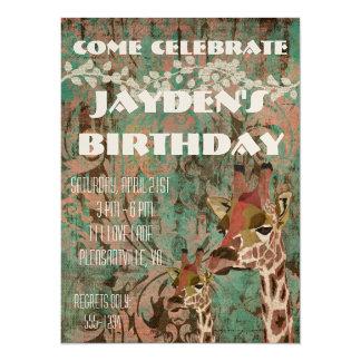 Invitation d'anniversaire de damassé de girafes de