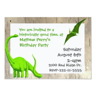 Invitation d'anniversaire de dinosaures verts