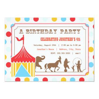 Invitation d'anniversaire de enfant - cirque carton d'invitation  12,7 cm x 17,78 cm