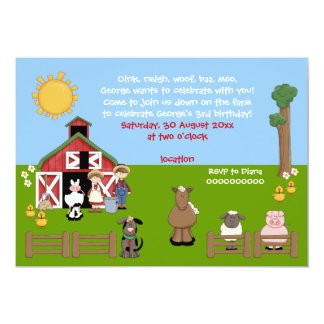 Invitation d'anniversaire de enfant d'animal de carton d'invitation  12,7 cm x 17,78 cm