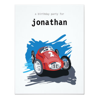 Invitation d'anniversaire de enfant - voiture de carton d'invitation 10,79 cm x 13,97 cm