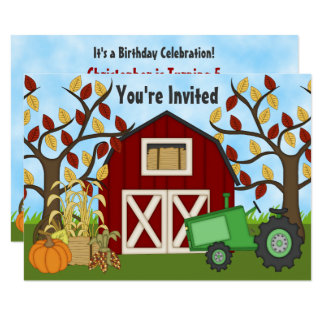 Invitation d'anniversaire de ferme d'automne de