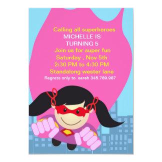 Invitation d'anniversaire de fille de super héros