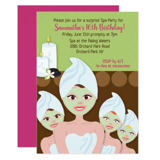 Invitation d'anniversaire de filles de spa, tout