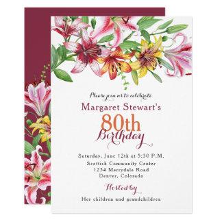 Invitation d'anniversaire de fleur de lis tigré de