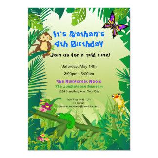 Invitation d'anniversaire de forêt tropicale de