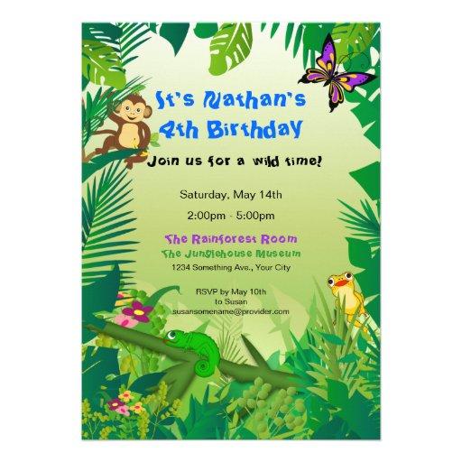 Invitation d'anniversaire de forêt tropicale de Ro