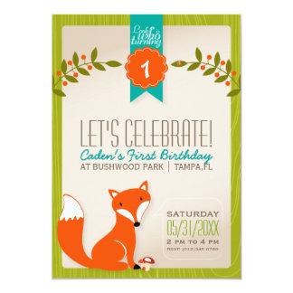 Invitation d'anniversaire de Fox de région boisée