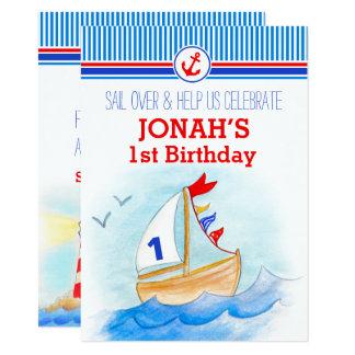 Invitation d'anniversaire de garçons nautiques de