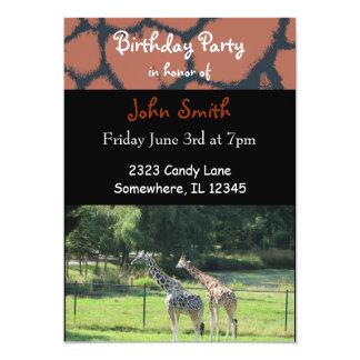 Invitation d'anniversaire de girafe