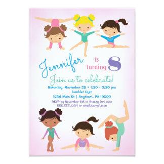Invitation d'anniversaire de gymnastique - rose de