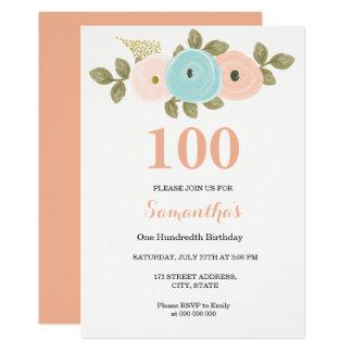 Invitation d'anniversaire de jolie pêche florale