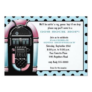 invitation d'anniversaire de juke-box de les