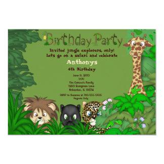 Invitation d'anniversaire de jungle de safari