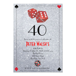 Invitation d'anniversaire de Las Vegas de casino