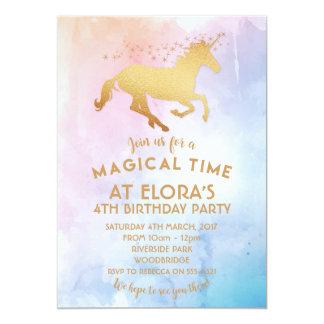 Invitation d'anniversaire de licorne d'aquarelle