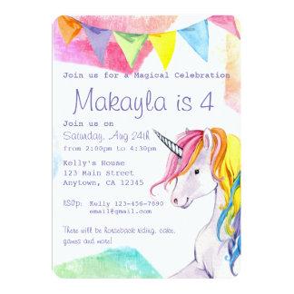 Invitation d'anniversaire de licorne d'arc-en-ciel