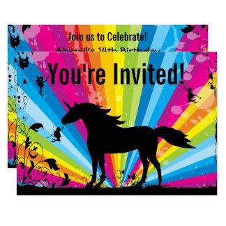 Invitation d'anniversaire de licorne et