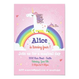 Invitation d'anniversaire de licorne - ROSE